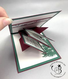 Stampin' Up! Twist and Pop Panel Card Tin of Tags and Winter Woods by Lisa Ann Bernard of Queen B Creations Card Making Tips, Card Making Tutorials, Card Making Techniques, Pop Up Christmas Cards, Xmas Cards, Stampinup Christmas Cards, Z Cards, Easel Cards, Fun Fold Cards