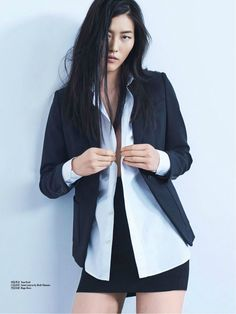 Liu Wen wears blazer look for Femina China Magazine November 2015 issue Photoshoot