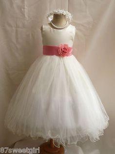 New Ivory Petunia Bridesmaid Kids Birthday Pageant Party Flower Girl Dress | eBay