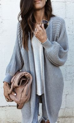 #spring #outfits  Grey Maxi Cardigan& Light Knit & Grey Destroyed Skinny Jeans