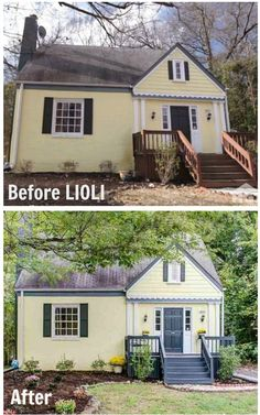 "Before & After: A little yellow bungalow remodeled by Hilary Farr and her design team on ""Love It or List It."""