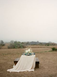 Open fields are perfect for weddings both small or large. This particular setting is in the  Bodega Bay are and I love how airy it looks. | Photo by Bret Cole Photography via http://styledandwed.com/?p=10752