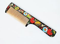 Wooden comb  Hand painted comb  Womens comb  by BloomingYourMind