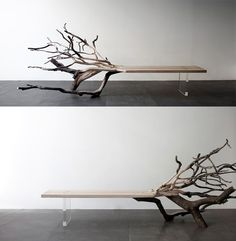 Fallen #Tree: a minimalist bench made from a carefully carved oak Finded at @Colossal specially for #WoodLovers