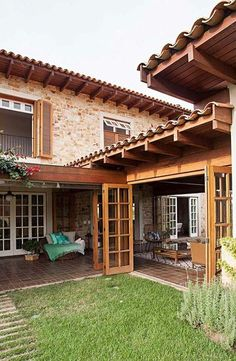 Next Post Previous Post Casa de Campo Rústica The owners had the longing for a rustic country house, with farm. Courtyard House, Village Houses, Tropical Houses, Tropical Garden, Traditional House, Home Fashion, My Dream Home, Exterior Design, Future House