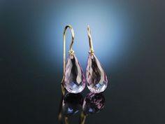Amethyst drop earrings! Violette Tropfen! Ohrringe Gold 585 feinste lila  Amethyst Brioletten, feiner Edelstein Schmuck bei Die Halsbandaffaire