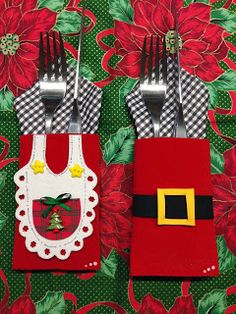 Cutlery Sets for Christmas Christmas Napkins, Christmas Sewing, Christmas Goodies, Christmas Makes, Felt Christmas, Christmas Holidays, Christmas Ornaments, Christmas Projects, Felt Crafts