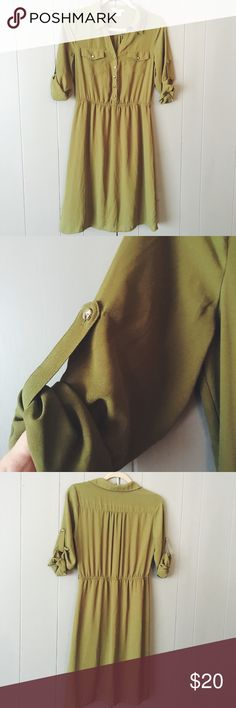 Olive Green Dress ✨ This trendy dress is sure to be a go to in your closet! Fully lined, yet lightweight. In excellent like new condition. Canlalite Dresses