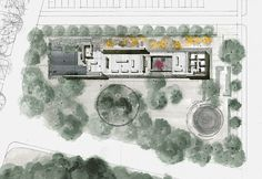 Plan of Windhover Contemplative Retreat by Aidlin Darling Design at Stanford University in California, USA