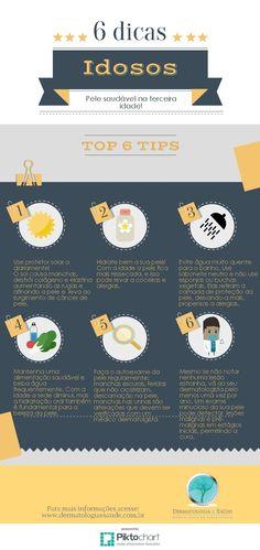 Infográfico dicas pele do idoso dermatologia e saude #pele #dicaspele #idoso #peledoidoso #dermatologista #dermatologiaesaude