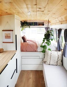 Living the Vanife! Aussies Embracing Tiny, Mobile Homes - The Design Files Caravan Renovation Diy, Caravan Makeover, Van Conversion Interior, Camper Van Conversion Diy, Tiny Mobile House, Mobile Homes, Van Life, Caravan Living, Caravan Decor