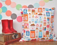 Multi Busy Village Cushion - handmade retro funky nursery vintage quirky fun £10.00
