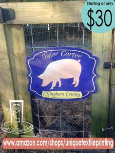 Customized PVC Stall Signs for Hog Shows 4H and FFA Colors and more!