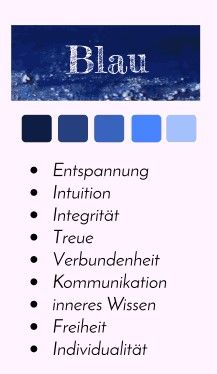 Farbporträt - Farbe Blau #Farbpsychologie #Farbwirkung #Farbtabelle #Farbenergie #Farben #Design #Grafik #infografik