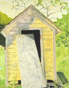Lois Dodd, THE YELLOW OUTHOUSE 1999, oil on masonite, 17 5/8 x 14 inches