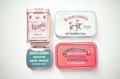 candy tins via mayalee Vintage Candy, Vintage Type, Retro Vintage, Vintage Box, Vintage Italian, Vintage Packaging, Pretty Packaging, Packaging Ideas, Italian Candy