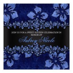 Blue Faux Glitter & Velvet Floral Sweet Sixteen Personalized Invites