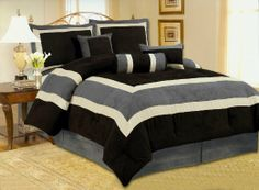 Amazon.com - High Quality Micro Suede Comforter Set Bedding-in-a-bag, Grey Black - King - Microsuede Comforter Set Black And Grey
