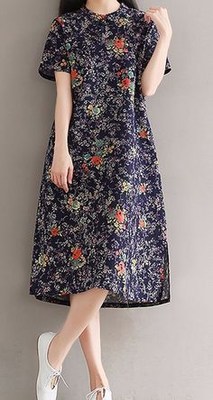 New women loose fit plus over size ethnic flower plate buckle pocket dress tunic #unbranded #Maxi #Casual