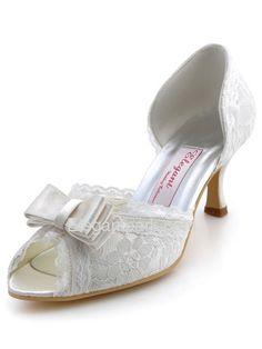 Ivory Peep Toe Bowknot Stiletto Heel Satin Lace Shoes (A3201)