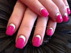 gel nails in pink and silver | Nail Art Ideas