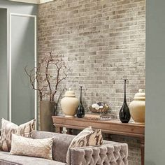 30 Popular Wall Tiles Design Ideas For Living Room. If you are looking for Wall Tiles Design Ideas For Living Room, You come to the right place. Below are the Wall Tiles Design Ideas For Living Room. Brick Tile Wall, Room Wall Tiles, Tile Bedroom, Wall Tiles Design, Tiled Wall Living Room, Rooms Home Decor, Living Room Decor, Living Area, Living Room Flooring
