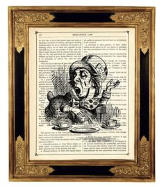 Alice in Wonderland the Mad Hatter b&w  Vintage by curiousprintery
