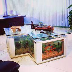 Mesa decorativa com aquário de água doce.