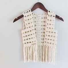 Crochet Blusas Boho Vest, Rocker Vest, Adult or Child Size, Crochet, Fringe Crochet Vest Pattern, Crochet Jacket, Crochet Blouse, Crochet Top, Crochet Patterns, Dress Patterns, Bikini Boho, Bikini Modells, Crochet Fringe