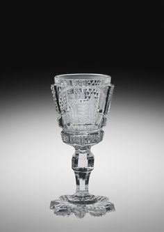 Wayne County Glass Works (Dorflinger) cut glass goblet with the New Jersey Coat of Arms.