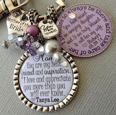 MOTHER of the BRIDE gift PERSONALIZED Mother of groom by buttonit mom you are my best friend and inspiration