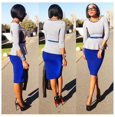 blue pencil skirt and peplum top, completed with blue skinny belt | business woman's wear to work