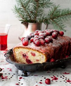 Lemon Cake with Cranberries and Lemon Icing. Similarity to grand moms cranberry coffee cake but lemon instead of almond. I am so craving a sweet and tart lemon cran something! Cranberry Cake, Cranberry Recipes, Holiday Recipes, Holiday Meals, Just Desserts, Delicious Desserts, Dessert Recipes, Yummy Food, Chocolates