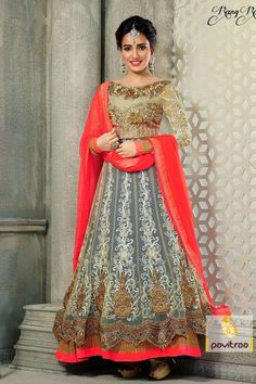 Give in to stunning look this beige and #grey #bridal #Salwar suit is decorated with net, stone fully embroidery work on full sleeves and cut border work gives attractive look.