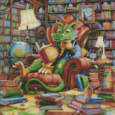 Literate Dragon [SPANGLER149653] - $19.00 : Heaven And Earth Designs, cross stitch, cross stitch patterns, counted cross stitch, christmas stockings, counted cross stitch chart, counted cross stitch designs, cross stitching, patterns, cross stitch art, cross stitch books, how to cross stitch, cross stitch needlework, cross stitch websites, cross stitch crafts
