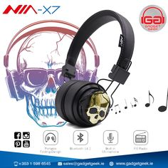 NIA X7 Skull Wireless Bluetooth Headphone (Black and Gold). It's Super-soft ear cushions help lock your ear snugly. Multi-function: Bluetooth, Micro SD Player, FM Stereo Radio, AUX.  🤖 GadgetGeek, The Best Gadget Store in Ireland.  #gadget #geek #dublin #dublin1 #ireland #dublino #Irish #DublinCity #DublinStore #Dublin_city #bestoffer #store #shop #headphone #Skull #NIA #NiaX7 #Bluetooth #BluetoothHeadphone
