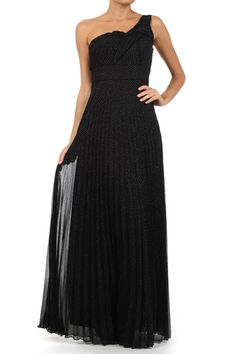 Black Solid Pleated One Shoulder Full Length Dress With Fabric Knot Detail