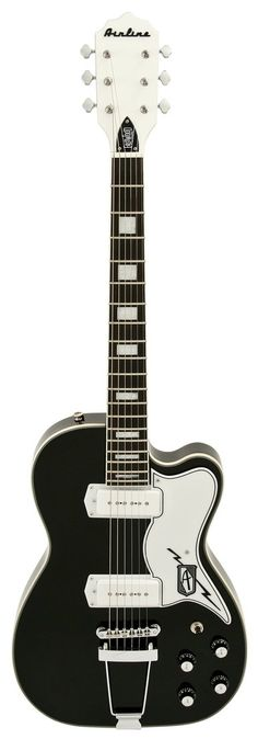 Eastwood Airline Tuxedo Black Electric Guitar | Rainbow Guitars