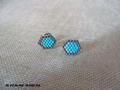 Boucles d'oreilles clous perles Miyuki tissée main Bohochic Bohostyle Bohemian Argenté et turquoise : Boucles d'oreille par m-comme-maryna