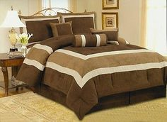 High Quality Micro Suede Comforter Set Queen King Cal king or Curtain Brown Sage