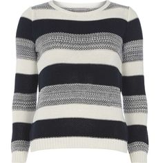 Dorothy Perkins Petite navy stripe jumper (£35) ❤ liked on Polyvore featuring tops, sweaters, blue, petite, navy blue jumper, navy striped top, navy striped sweater, navy sweater and striped sweater