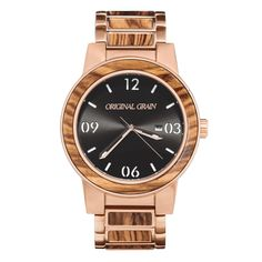 FEATURES All Natural Inlaid Zebrawood Bezel and Links Brushed Rose Gold 316L Stainless Steel Mineral Crystal Glass Cover Japanese Miyota...
