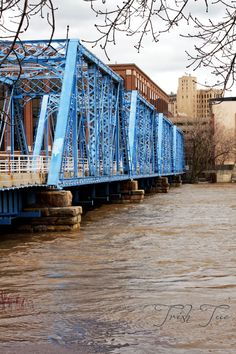 Blue Bridge - Grand Rapids Michigan over the Grand River Grand Rapids Michigan, Michigan Travel, Detroit Michigan, Lake Michigan, Grand Haven, City Aesthetic, Great Lakes, The Great Outdoors, Places To See