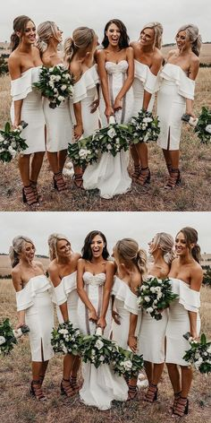 Unique Prom Dresses, Sheath Off-the-Shoulder White Knee-Length Bridesmaid Dress, There are long prom gowns and knee-length 2020 prom dresses in this collection that create an elegant and glamorous look Inexpensive Wedding Dresses, Affordable Bridesmaid Dresses, Unique Prom Dresses, Popular Dresses, Prom Dresses Online, Fall Dresses, Sweater Dresses, Beautiful Dresses, Formal Dresses