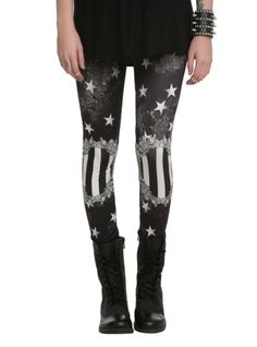 Black & white stretch leggings with allover starry print and striped cameo design.