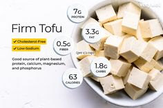 Tofu Nutrition Facts: Calories, Carbs and Health Benefits - Tofu Rezepte Tofu Nutrition Facts, Sport Nutrition, Nutrition Month, Holistic Nutrition, Nutrition Plans, Nutrition Tips, Healthy Foods To Eat, Health And Nutrition, Tofu Health Benefits