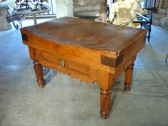Antique French Butcher's Block Table