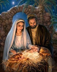 """*Jesus is the reason for the season"""" by Dona Gelsinger ~ Holy Family ~ Nativity Christmas Scenes, Christmas Nativity, Christmas 2017, True Meaning Of Christmas, Happy Birthday Jesus, Blessed Mother, Christian Art, Christmas Pictures, Jesus Christmas Images"""