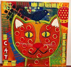 Cat Kitten Kitty Pussycat Bird Birdie Folk art by ZogsPlace