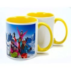 With a high gloss finish, ceramic mugs are a great way of personalising with an image or logo. Two Tone Mugs are available in different interior colours - red, blue, green, yellow & pink. Screen Printing Supplies, Sublimation Mugs, Yellow Print, Personalized Mugs, Ceramic Mugs, Colorful Interiors, Colours, Ceramics, Tableware